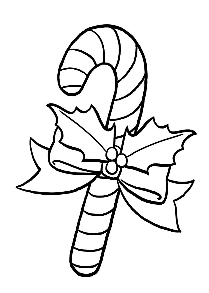 Christmas candy cane coloring pages for kids, printable free