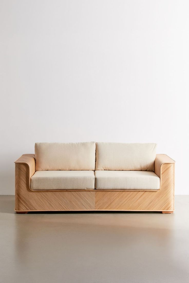Screen Porch Seating Daybed: Ria Split Reed Upholstered Sofa