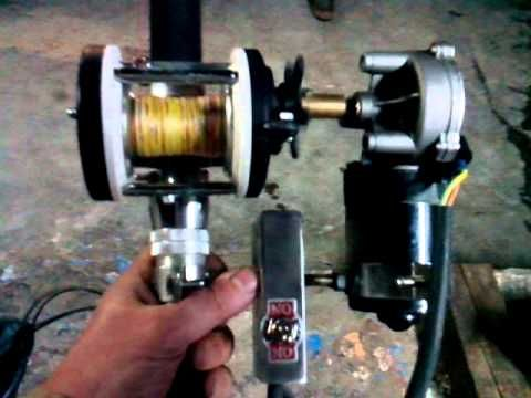 Carrete electrico artesanal con motor de limpia - YouTube