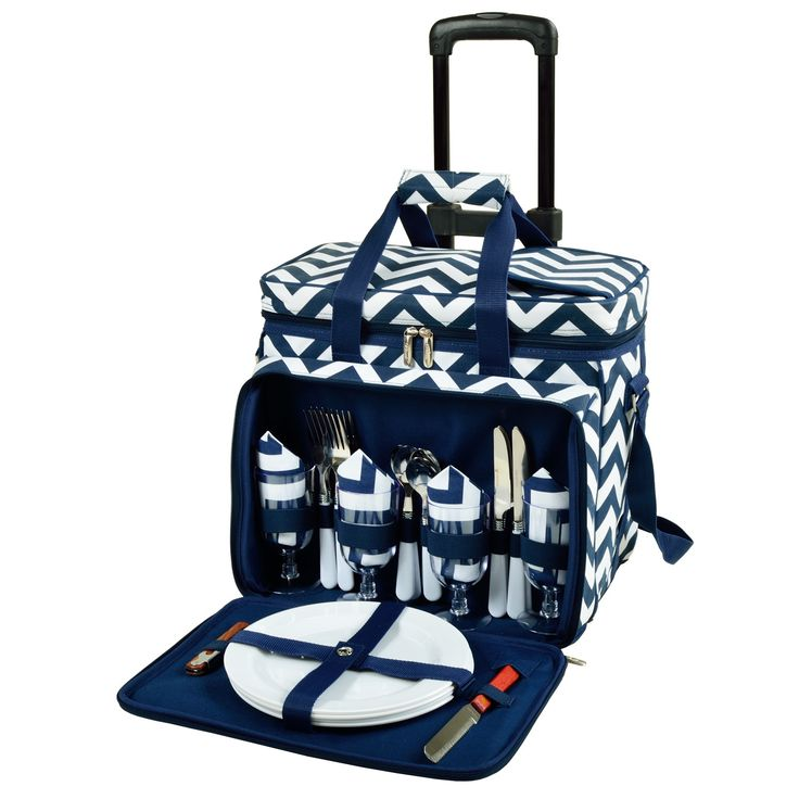 Features: -Access panel in lid. -Divided interior. -Leak-proof. -Wheeled bottom. Product Type: -Rolling Cooler. Cutlery Flap: -Yes. Adjustable Straps: -Yes. Adjustable Divider: -Yes. Silverwa