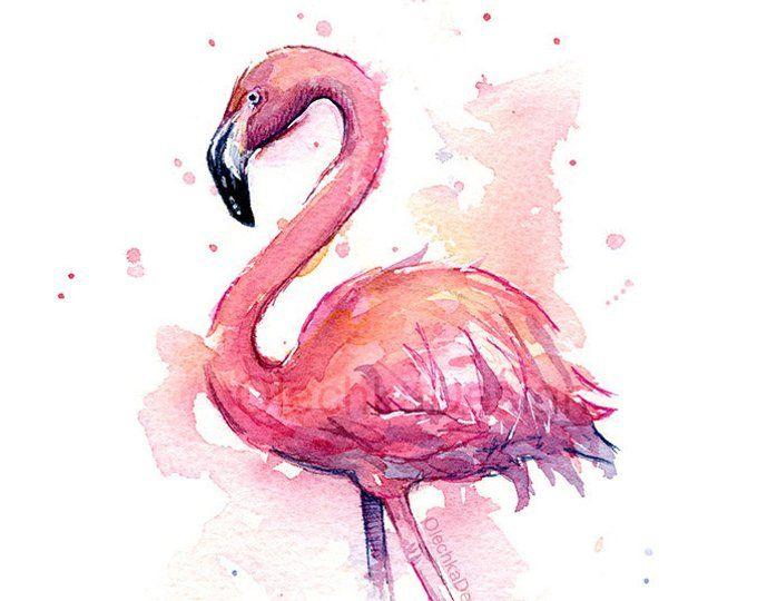 Flamingo Aquarelle Peinture Pink Flamingo Art Print Tropical