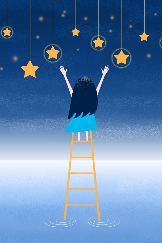 Beautiful Starry Sky Picking Up The Stars Teenage Star Night Good Night Illustration Image On Pngtree Free Download On Pngtree Night Illustration Image Illustration Starry Sky