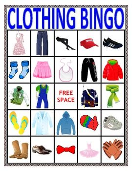 VOCABULARY BINGO: CLOTHING- Speech Therapy. Great way to identify clothing. Has many different sounds.