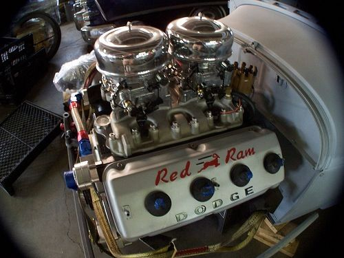 """Red Ram"" Dodge Hemi engine.  The 1956 Dodge D-500 276 HP was the fastest production car in the world in 1956. The 2-4 barrel set-up won the title at the 1st Super Stock class National drag Championship.The D-500 was 1st to run +100 mph in 1/4 mile & 1st under 14 s O to 60 -8 s The '56 D-500 topped the performance of all U.S. production cars at the annual Nascar speed trials at Daytona Beach. Winning the Bonneville endurance records in 14-day race. Forcing Chevrolet to step up in 1957."