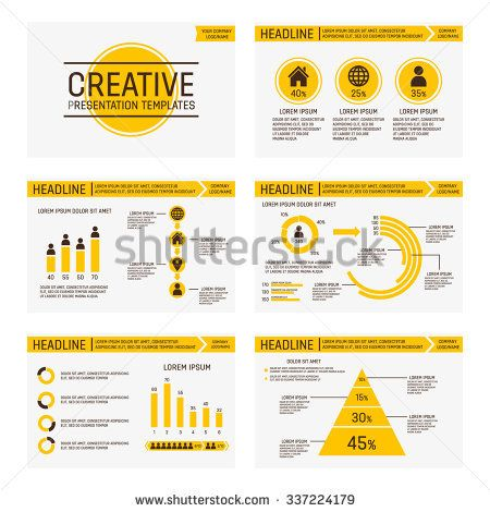 Vector yellow template for multipurpose presentation slides with graphs and charts.
