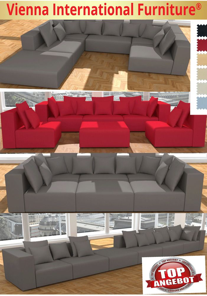 WOHNLANDSCHAFT 6 TEILE MODULARES SOFA XXL U-FORM L-FORM GARNITUR ALCANTARA LOOK in Möbel & Wohnen, Möbel, Sofas & Sessel | eBay!