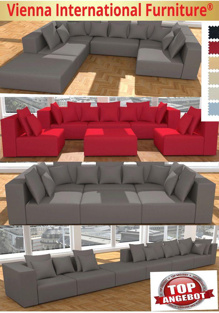 wohnlandschaft 6 teile modulares sofa xxl u form l form. Black Bedroom Furniture Sets. Home Design Ideas
