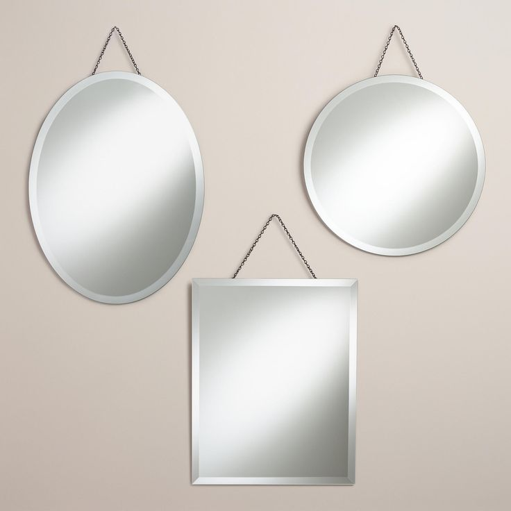 """To be paired with other hanging mirrors on the wall with the mirror on it now for a """"mirror wall"""" made up of 7 or so various shapes.   Sage Frameless Mirrors 