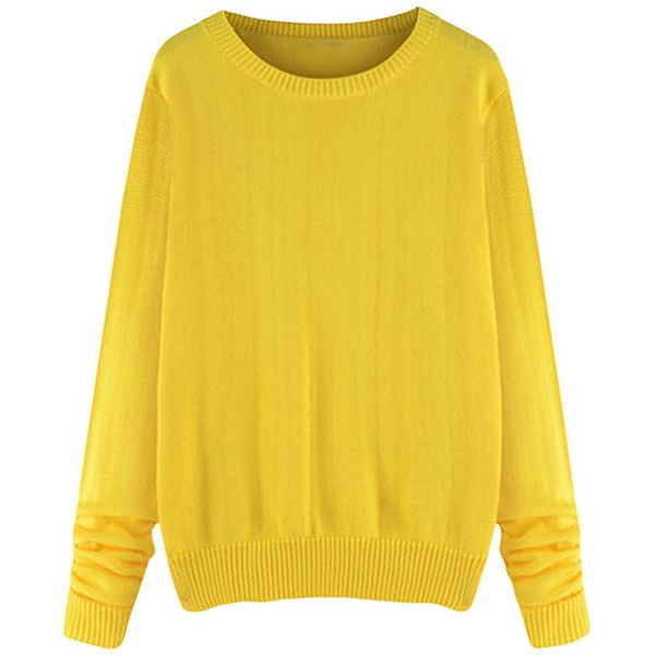 Womens Plus Size Crewneck Long Sleeve Sweater Yellow ($25) ❤ liked on Polyvore featuring tops, sweaters, yellow, yellow sweater, yellow top, long sleeve crew neck sweater, crewneck sweater and long sleeve sweaters