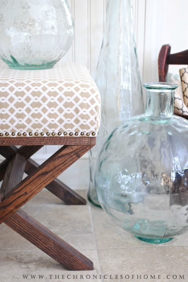 FREE PLANS - how to upholster a bench (no use of cording but did line with nail studs)