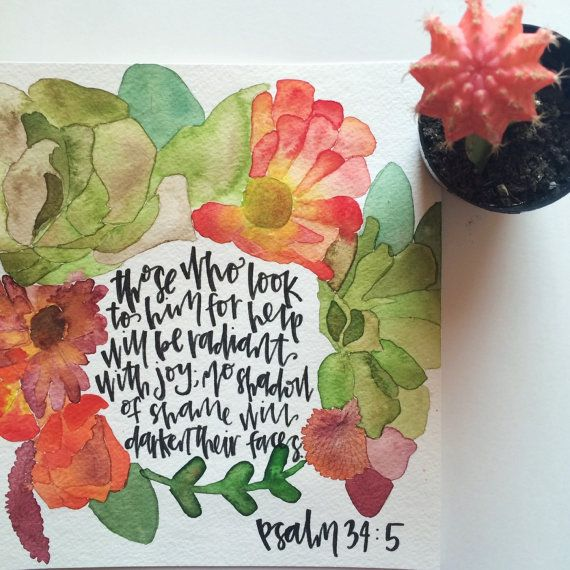 Psalm 34:5 Watercolor Print by HuesOfGrace on Etsy