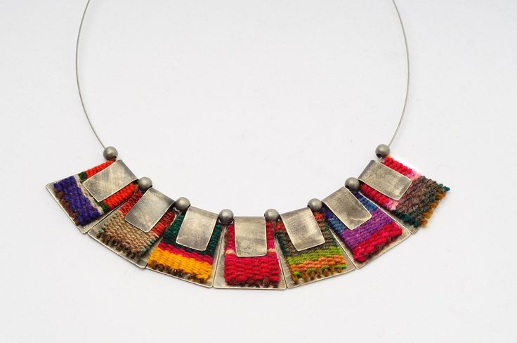Metal and fabric colorful necklace