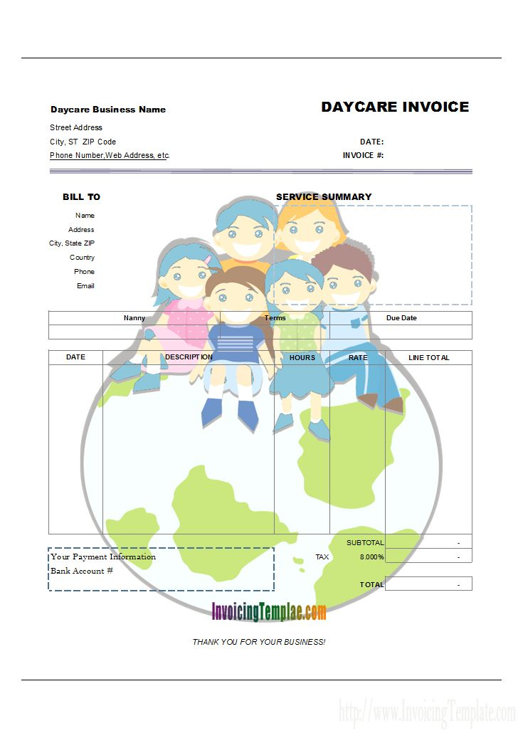 c5088 - Babysitting Invoice (Happy Kids on Earth Style) - print result