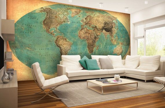 World Map Wall mural Wallpaper Wall décor Wall decal por KIINOO