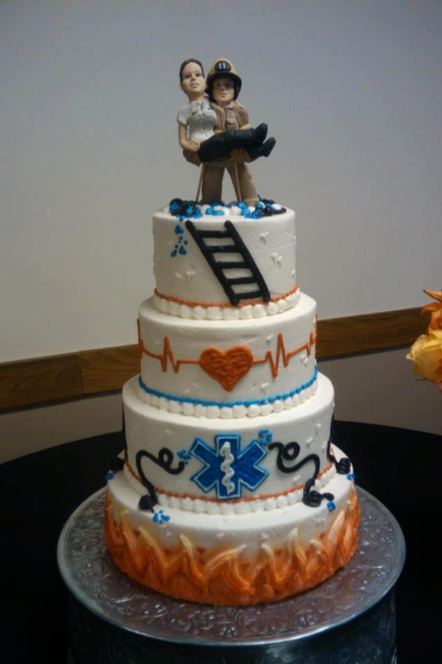Paramedic Firefighter Wedding Cake My Future :) I Shall Work Hard For You.