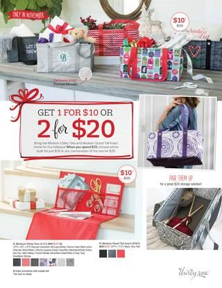 Thirty-One Gifts November Customer Special 2017 Save Big this month on TWO great products with every $35 you spend. The Medium Utility Tote or the Medium Stand Tall Insert! Kristin Moses Thirty-One Consultant www.mythirtyone.com/kristinmoses #mut #thirtyone #tote #gift #november #holidays #joinme #joinmyteam #party #purple #gifting #everydayuses