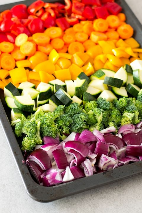 Oil-free-rainbow-roasted-vegetables so colorful