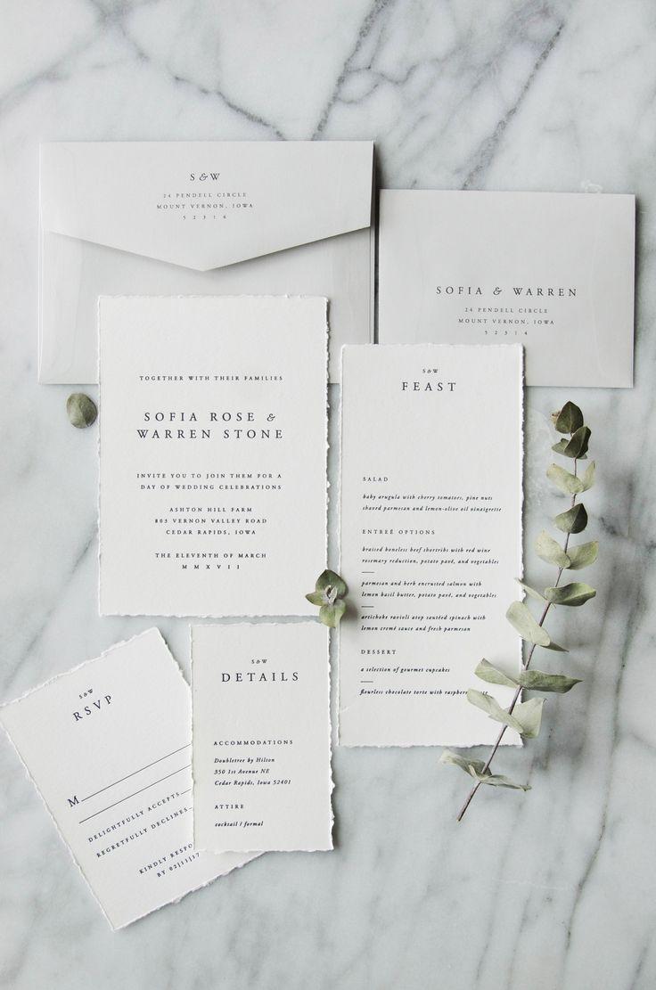 A simple semi-custom wedding invitation suite design with classic ...