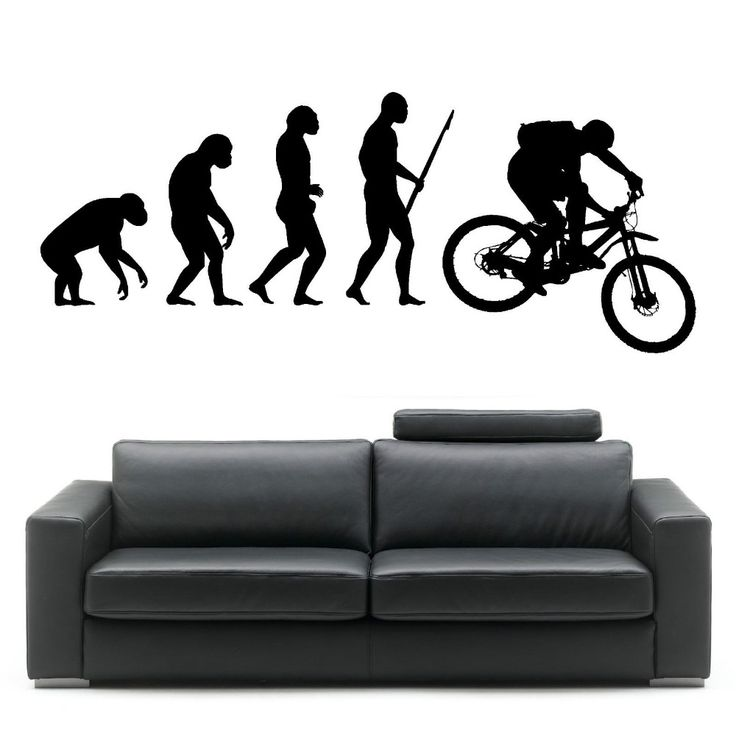 Darwin Evolution Of Man Mountain Bike Art Design Home Decorative Vinyl Wall Mural Creative Wall Sticker Y-823 #Affiliate