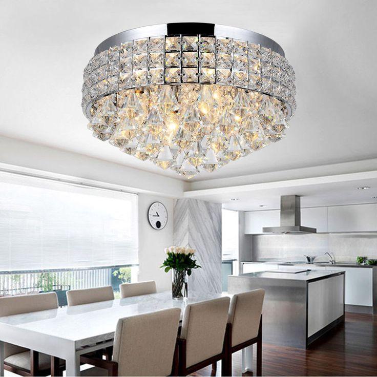 Luxury Round Flush Mount Fitting Crystal Droplet Ceiling Lights Chandelier LED…