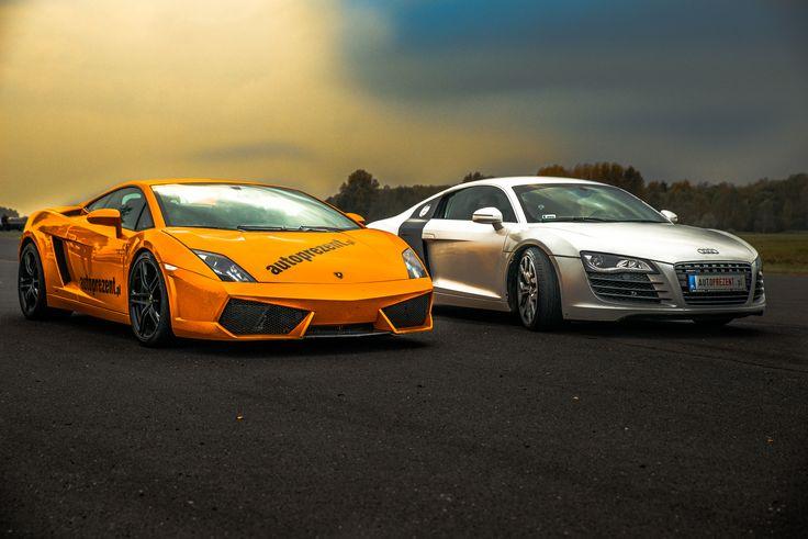 Lamborghini Gallardo i Audi R8. Piękne ujęcie.
