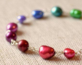 Bracelet de perles, bijou tons, vraie d'eau douce, rose violet rouge, coloré, fil enroulé, bijoux en argent Sterling, livraison gratuite