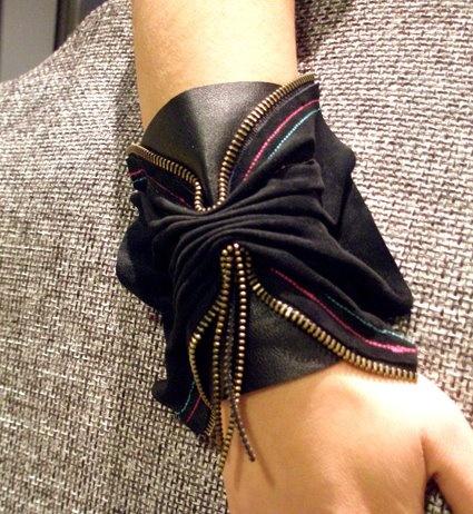 handmade black cuff with zip details