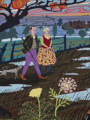 ...and the oldies wandered around their favourite neighbourhood with their best friend... grayson perry tapestries