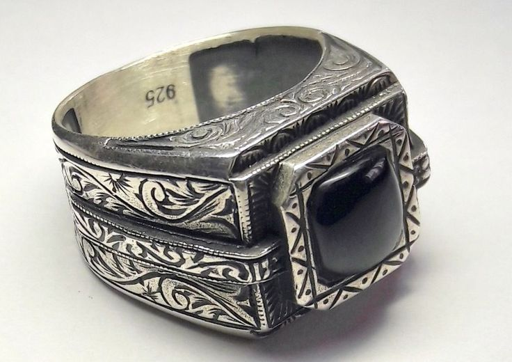 <b>925 sterling silver</b> totally handmade men's ring with <b>real</b> jet (oltu) stone