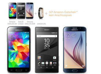 Amazon: Drei Top-Handys mit Amazon-Gutschein und Gratis-Zugaben http://www.discountfan.de/artikel/tablets_und_handys/amazon-drei-top-handys-mit-amazon-gutschein-und-gratis-zugaben.php Bei Amazon sind ab sofort mit dem Samsung Galaxy S6, dem Samsung Galaxy S5 Mini und dem Sony Z5 drei Top-Handys inklusive Vertrag zum symbolischen Preis von einem Euro zu haben. Trotz der zwei Gratis-Beigaben lohnt sich nicht jede Offerte, wie Discountfan-Recherchen ergaben. Drei Top-Handys mi