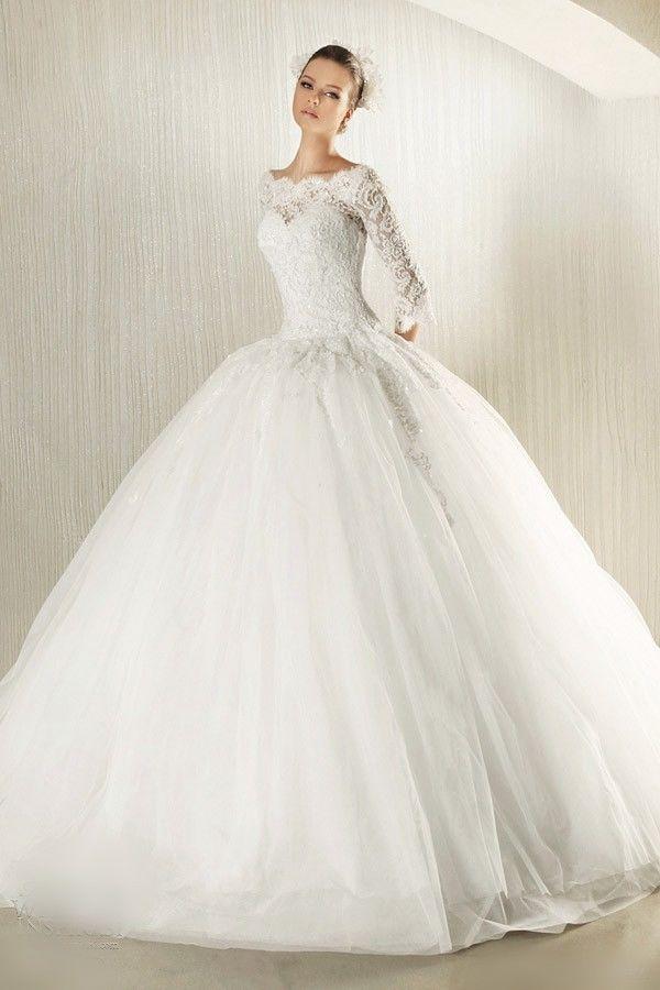 new lace wedding dress long sleeve white ivory full bridal gown custom plus size
