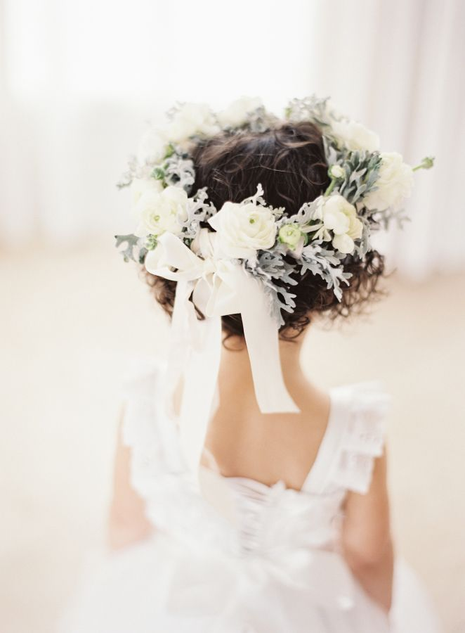 The sweetest flower girl crown: http://www.stylemepretty.com/2016/05/13/this-disney-inspired-wedding-is-the-ultimate-fairytale/ | Photography: Ozzy Garcia - http://ozzygarcia.com/