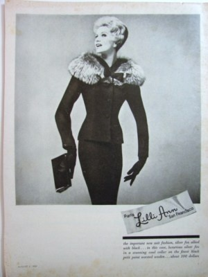 1959 LILLI ANN Ladies SILVER FOX COLLAR Suit Fashion vintage photo print Ad | eBay