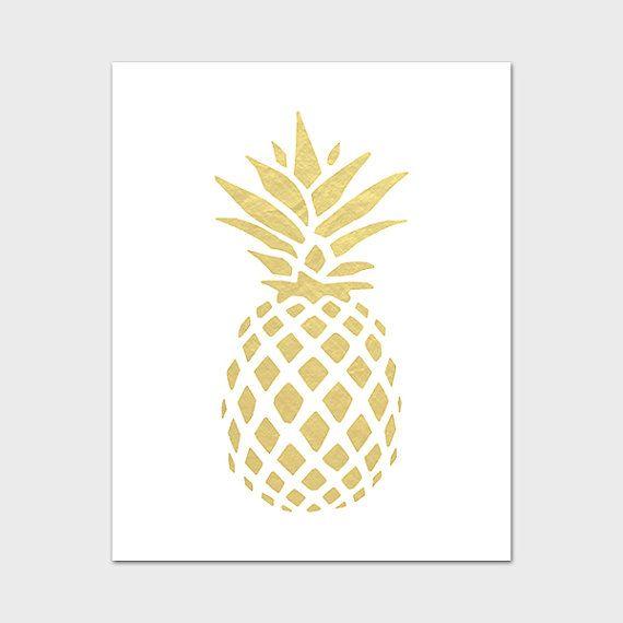 Pineapple Printable Wall Art Gold Print Hospitality Tropical Decor Fruit Prints Foil