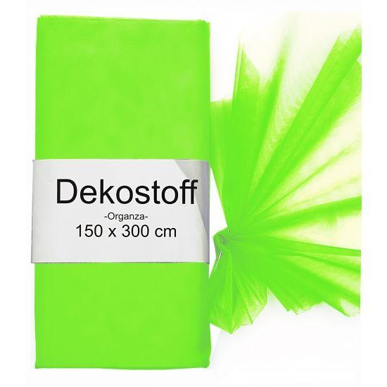 Organza stof bij warenhuis Trendmax, Organza tule stoffen neon groen 150 x 300 cm,150,300,cm,fluor,gaas,green,groene,neon,organza,rol,rollen,stof,stoffen