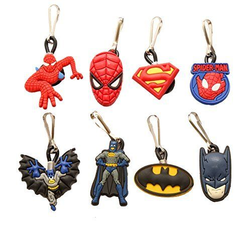 8 pcs Batman and Spiderman Zipper Pull Charms for Jacket Backpack Bag Pendant @ niftywarehouse.com #NiftyWarehouse #Spiderman #Marvel #ComicBooks #TheAvengers #Avengers #Comics