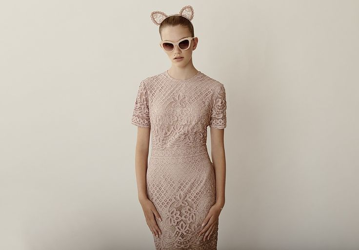Headpiece by Maison Michel at Christine. Dress by Lover. Sunglasses by Pared. Bracelet by Petite Grand at INCU