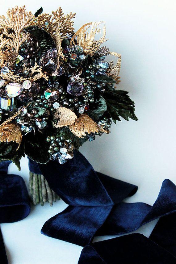 Gold Evergreen Gemstone Swarovski Crystal and Pearl by EmiciLivet