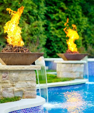Hinsdale, IL Freeform Swimming Pool and Hot Tub with Fire and Glass - transitional - Pool - Chicago - Platinum Poolcare