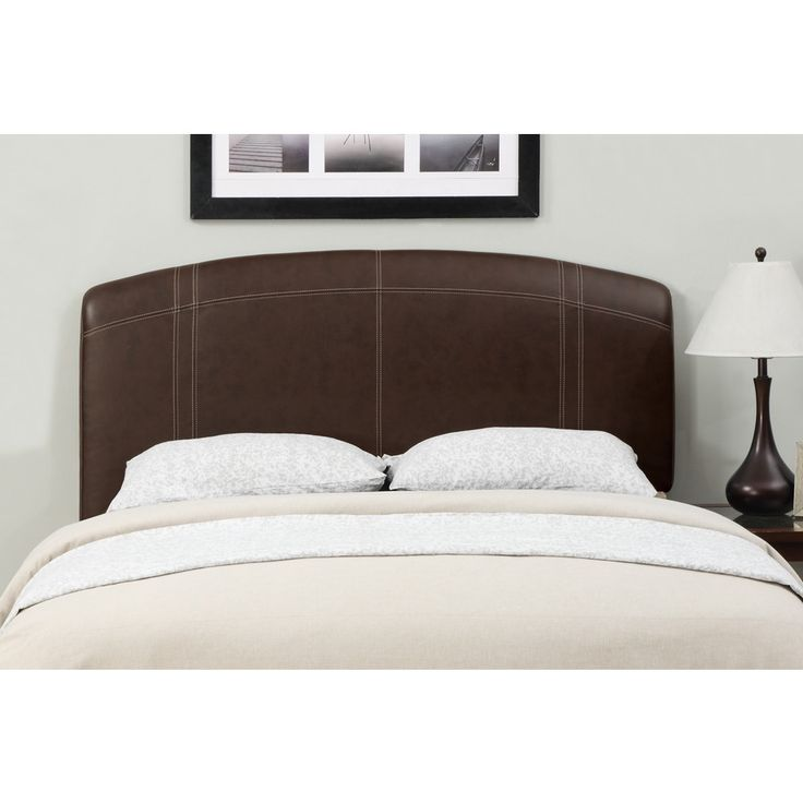 brown stitched leather full queensize headboard
