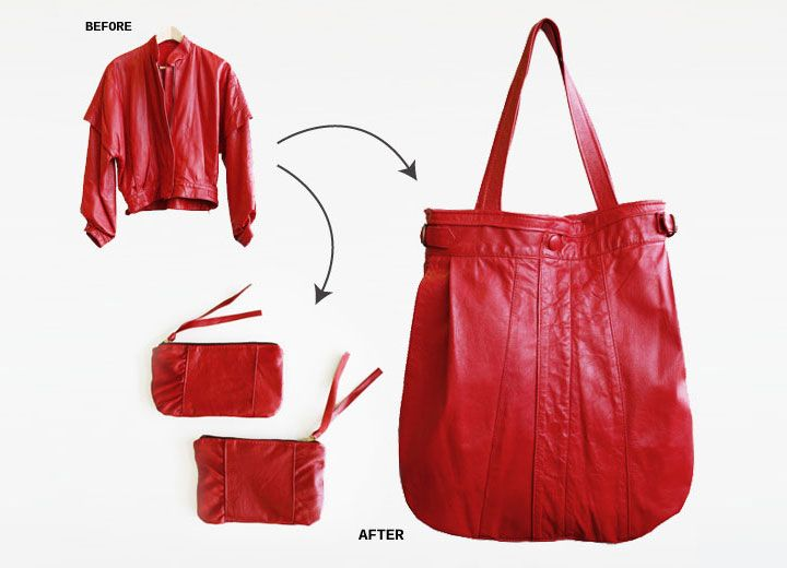 red leather jacket upcycled into bags, by Shannon South #repurposed #recycling