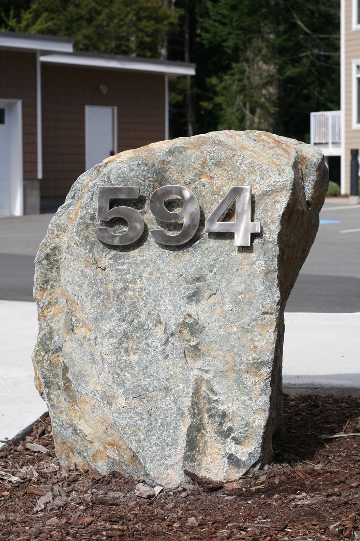 Completed by Meadowlark Memorials. Address Boulders for a Local Apartment Complex. Locally made bold Stainless steel numbers add a superior appearance. #housesigns #Addressstones #Victoria #Meadowlark #Vancouverisland #housenumbers #custommade #local #memorial #gravestone #headstone #colwood #saanich #latoria