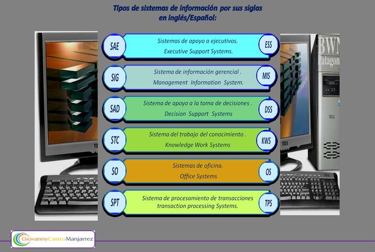 Tipología de los sistemas de información con sus siglas en inglés y en español