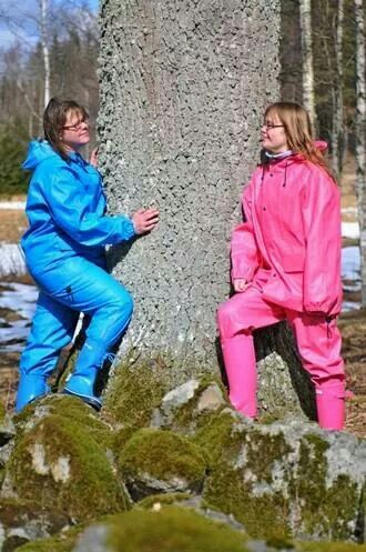 Blue & pink rainsuits