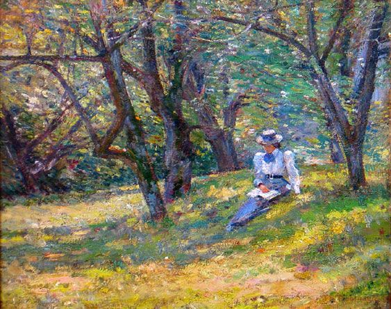 """""""In the Orchard,"""" Theodore Robinson, 1895, oil on canvas, 18 x 22"""", private collection."""