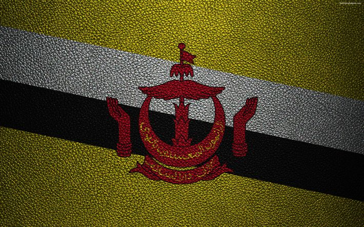Download wallpapers Flag of Brunei, 4k, leather texture, Brunei flag, Asia, world flags, Brunei