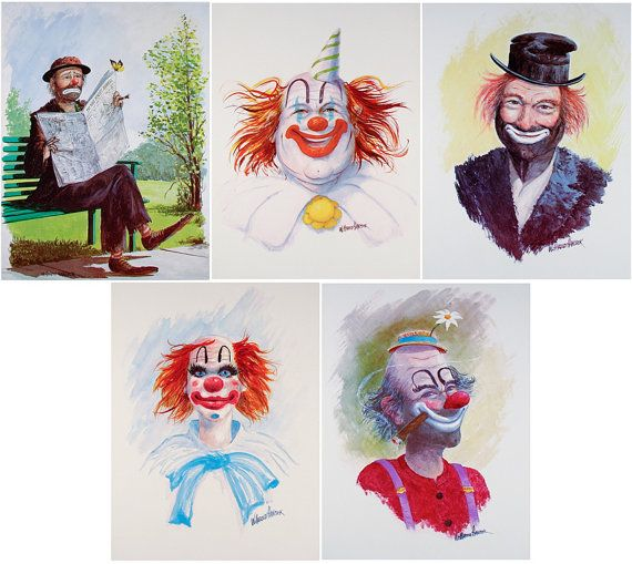 5 CLOWNS Clown Art Emmett Kelly Red Skelton by WHaroldHancock