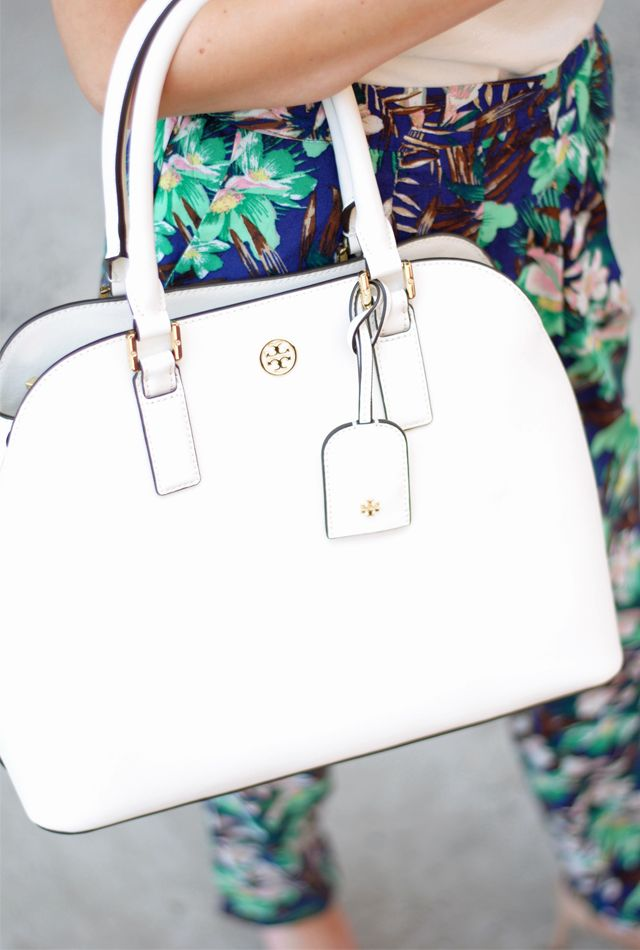 Southern Curls & Pearls' Caitlin Covington with her Tory Burch Robinson dome satchel