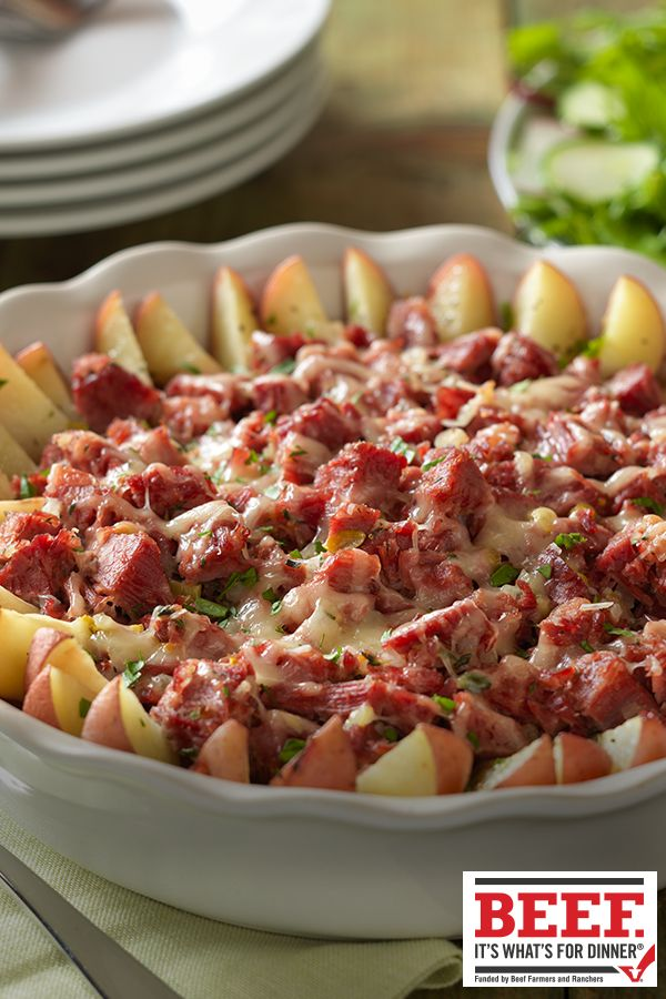 Rustic Corned Beef & Potato Bake  Need to use up leftover Corned Beef Brisket? Try this rustic Potato Bake topped with Corned Beef Brisket and cheese.