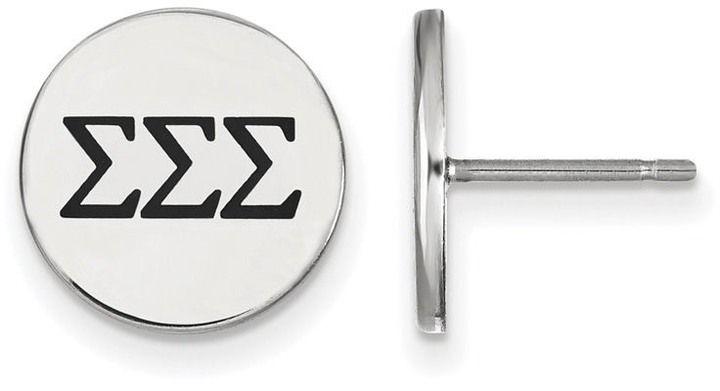 Zales Black Enamel Sigma Sigma Sigma Sorority Stud Earrings in Sterling Silver
